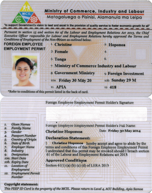Foreign Employment Employee Permit - Ministry of Commerce ...
